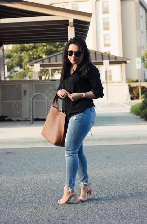 How to style a black blouse during summer - express top, express jeans, charlotte russe heels