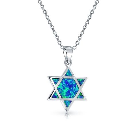 Sterling Silver /& Synthetic Crystal Magen David Jewish Star Pendant