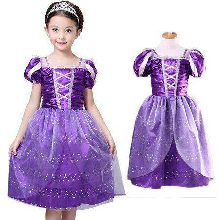 Kid Girls Princess Costume Fairytale Dress Up Rapunzel Cinderella Fancy Dresses