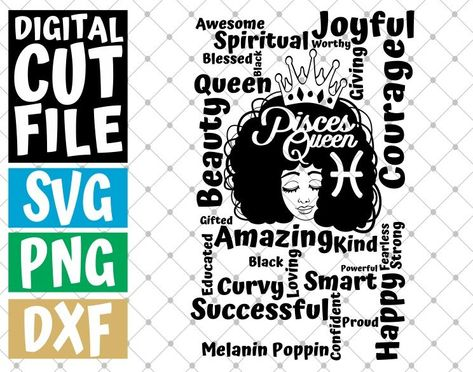 Black woman Instant download Afro Queen svg Horoscope Silhouette Melanin File for Cricut Gemini sign svg Zodiac sign svg Layered
