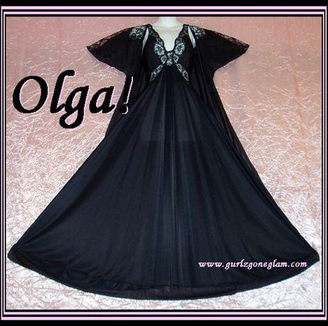 Olga Nightgown Vintage Peignoir Mix Set Black long full sweep by HeartVintageLingerie  #vintage #vintageLingerie #olgaNightgown #etsygifts