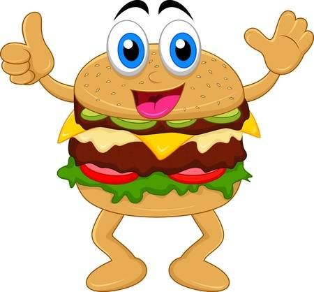 Personajes de dibujos animados hamburguesa