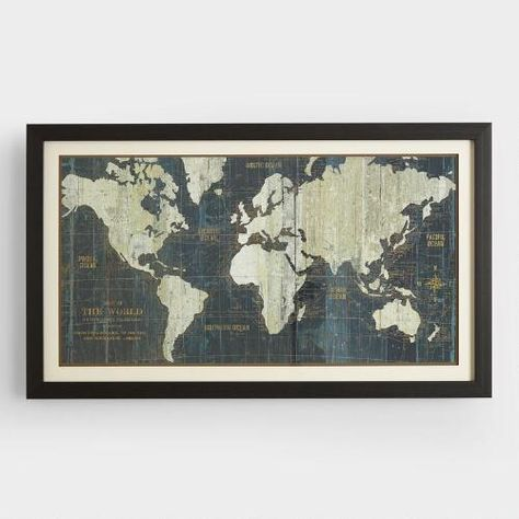 Our Blue Old World Map is a reproduction of a late 18th century map
