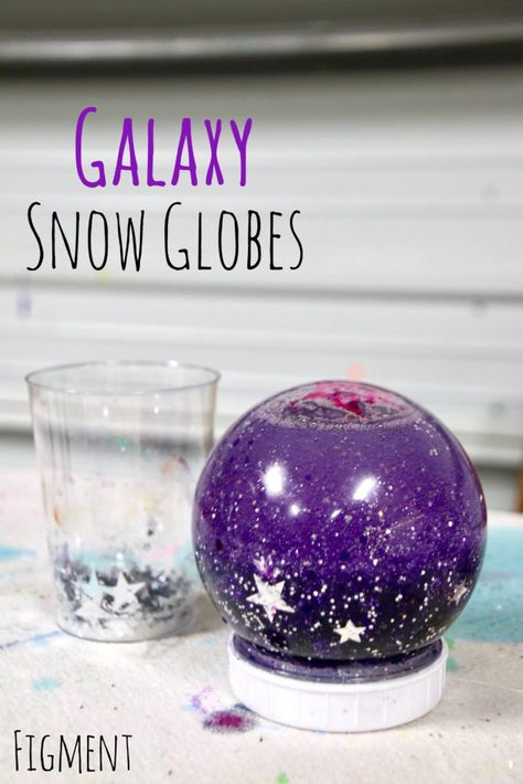 galaxy snow globe sensory outer space calm down for kids christmas snow globes holiday DIY Figment Creative Labs Austin TX Science activity Snow Globe Crafts, Diy Snow Globe, Snow Globes, Kids Snow Globe Craft, Cool Art Projects, Projects For Kids, Diy For Kids, Outer Space Crafts For Kids, Outer Space Activities