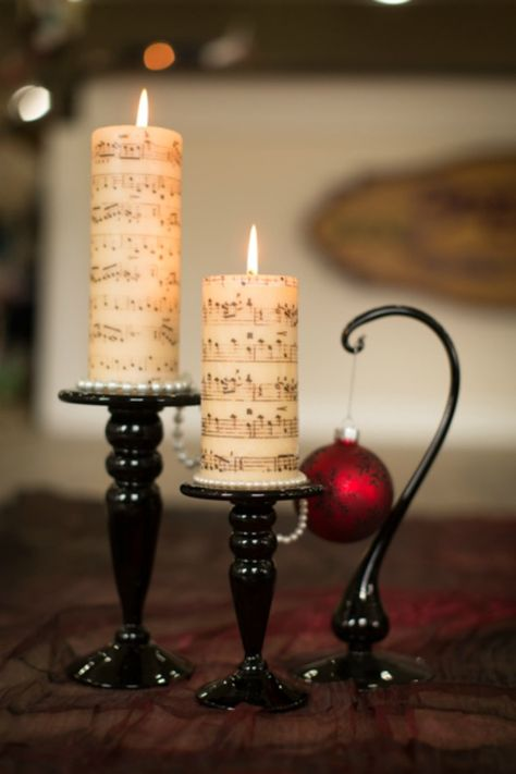 Sheet Music Candle DIY by Cameo Events DIY Music Sheet Candles -- could use this technique for any design.DIY Music Sheet Candles -- could use this technique for any design. Diy Music, Sheet Music Crafts, Sheet Music Art, Music Gifts, Music Music, Piano Music, Christmas Candles, Christmas Crafts, Christmas Decorations