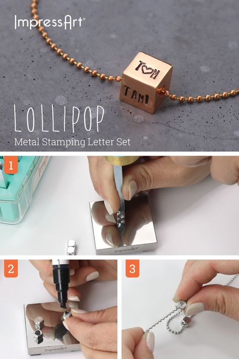 Cubed necklaces are the latest jewelry trend! Perfect for stamping individual letters or new initials on each side. The possibilities are endless! #ImpressArt #JewelryStamping #DIYnecklace