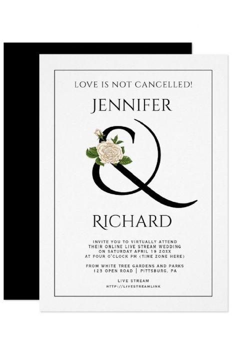 Elegant ampersand rose black white virtual wedding invitation. #invitation #wedding #virtual #virtualwedding #ampersand #blackandwhite #rose