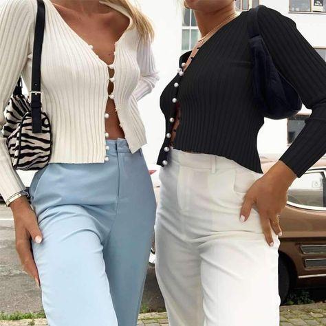 Fashion V neck Long sleeve Knit Cardigan T-Shirts - ClothingI