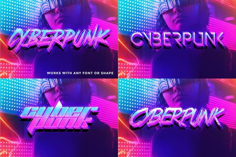 Cyberpunk 80s Text Effects