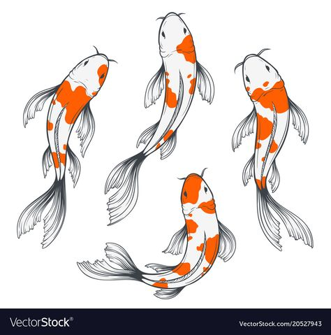 Buy Koi Fish Set by abirvalg on GraphicRiver. Set of four traditional japanese koi fishes top view. Simple sketch style drawing of red and white fishes. Koi Fish Drawing, Fish Drawings, Art Drawings, Japanese Koi Fish Tattoo, Art Koi, Fish Art, Koi Tattoo Design, Fish Sketch, Koi Painting