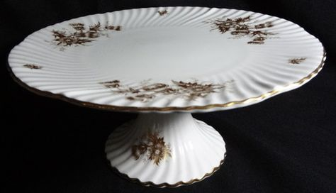 Vtg Hammersley & Co Bone China Pedestal Cake Plate GOLDEN THISTLE #5905 | eBay
