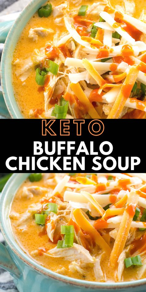 This low carb Instant Pot Buffalo Chicken Soup is loaded with tender shredded chicken, spicy buffalo sauce and tons of cheese! Under 5 net carbs per serving and perfect for keto meal prep! #keto Buffalo Chicken Soup, Southwest Chicken, Recipes With Buffalo Sauce, Shredded Buffalo Chicken, Chili Recipes, Baking Recipes, Poulet Keto, Cena Keto, Chowders