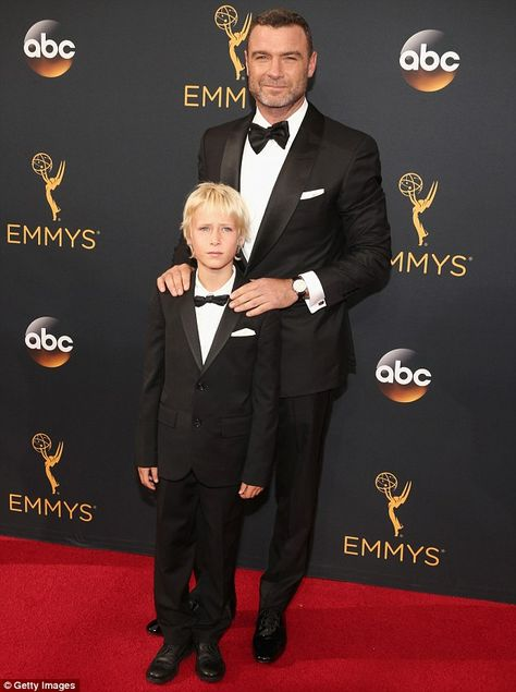 Father and son: Liev Schreiber took his son Samuel on Sunday to the Primetime…