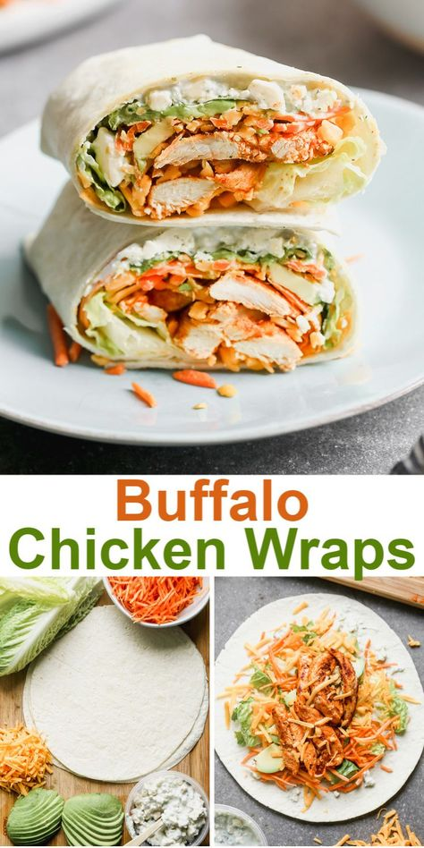 These EASY and delicious Buffalo Chicken Wraps include juicy buffalo chicken layered on crunchy fresh veggies, topped with cheese and creamy dressing and wrapped tightly in a delicious flour tortilla. Good Healthy Recipes, Healthy Meal Prep, Healthy Chicken Recipes, Cooking Recipes, Healthy Lunch Wraps, Healthy Snacks, Health Recipes, Healthy Dinner With Chicken, Easy Dinner Meals Healthy