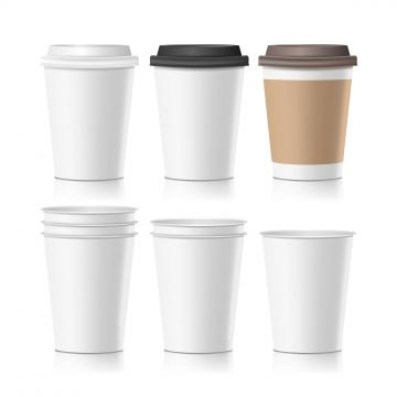 Set Coffee Paper Cups Vector Empty Clean Paper Collection 3d Coffee Cup Mockup Isolated Illustration Paper Coffee Cup Paper Cup Coffee Cup Icon