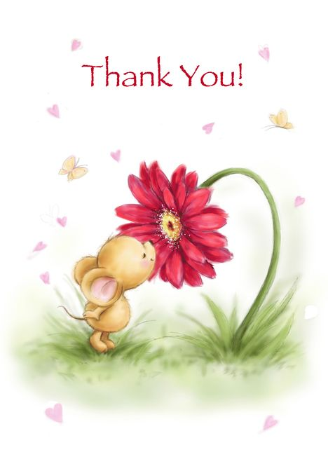 Mouse with Bouquet of Flowers Thank You Card
