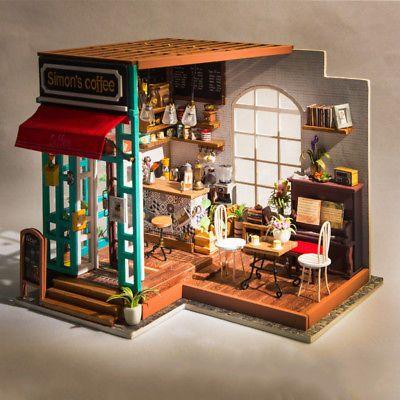 Robotime DIY Wooden Dolls House 1:24 Bedroom Miniature Furniture LED Light Set