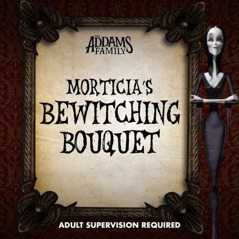 Make your own spooky bouquet, inspired by Morticia Addams. The Addams Family is Now Playing in theaters!