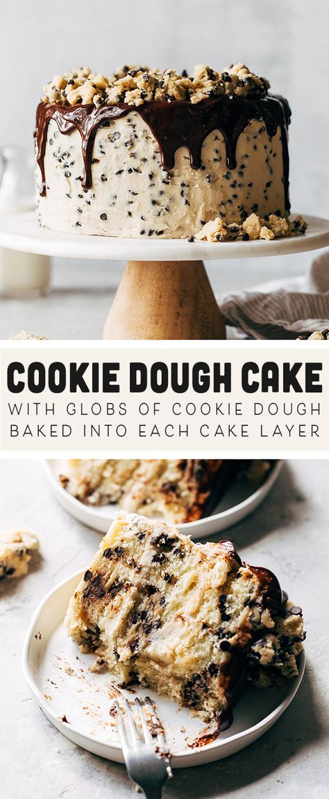 This is the ultimate cookie dough cake! Globs of cookie dough are baked into buttery layers of vanilla chocolate chip cake, all smothered in cookie dough buttercream and drizzled with chocolate ganache. No Bake Desserts, Just Desserts, Delicious Desserts, Dessert Recipes, Cookie Cake Recipes, Cookie Dough Desserts, Healthy Cookie Dough, Cookie Cakes, Best Cake Recipes