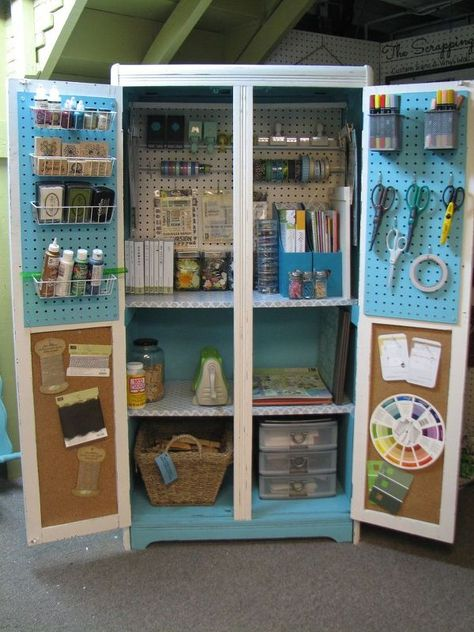 armoire turned craft chest, craft rooms, crafts, painted furniture, repurposing upcycling Source by