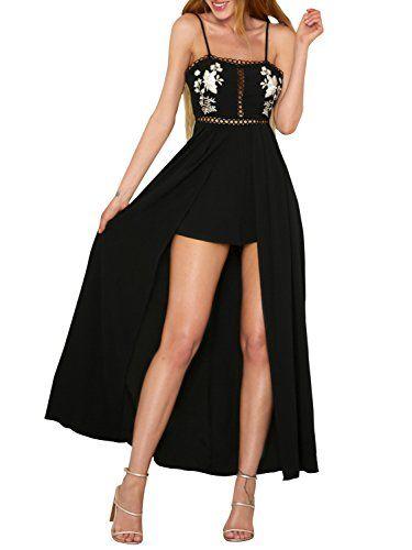 d435df5670 Terryfy Damen Sommer Jumpsuit Kleid Elegant Lang Stickerei Blumen  Rückenfrei Overall Playsuit Schwarz. Verstellbare Träger Krawatte auf dem …