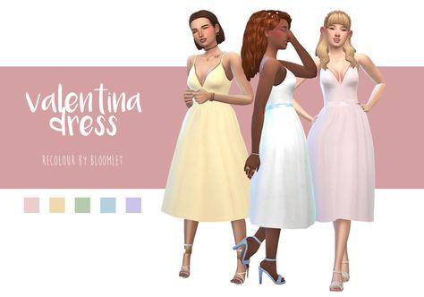 """bloomlet: """" i LOVE magnolian farewell's valentina dress but i wanted it in some brighter colours for my more colourful game! this is the first time ive shared my cc  also a start to a new simblr! ✨🍊🌿 • requires the mesh • 17 swatches total • full..."""