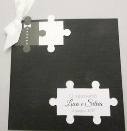 Partecipazione Bianco Nero Puzzle Partecipazioni Nozze Partecipazione Nozze