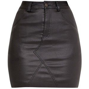 The Eviane Black Coated Denim Skirt. Head online and shop this season's range of denim at PrettyLittleThing.