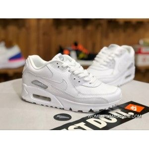sale retailer 00589 8e2c2 Nike Air Max90 Pure White Leather Women Zoom Casual Shoes Running Shoes  302519-113 Size Free Shipping