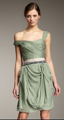 fe1c8ac1373 WT-Vera Wang Lavender-Green Belted Assymetric Layer Drape Chiffon Dress  -Size 2