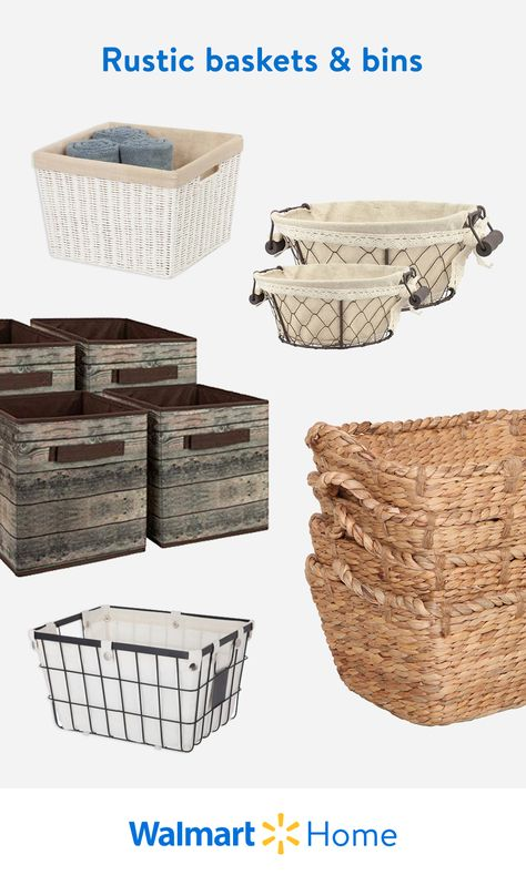 Maximize and organize with budget-friendly, stylish storage from Walmart. Store it all in our rustic baskets, bins, and more. #WalmartHome #FallCozyVibes