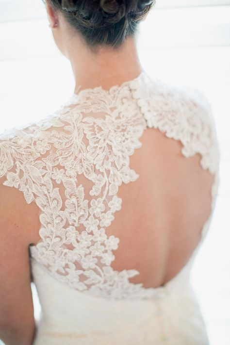 Lace keyhole back wedding gown.