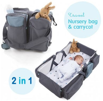 Buy this genius baby product, the ultimate travel gadget for parents. A nursery bag that easily transforms into a comfy carry cot/ nappy changing station