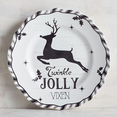 Humbolt Jolly Reindeer Striped Dinneware Pier 1 Imports Christmas Salad Plates White Reindeer Reindeer Plate
