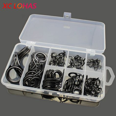75pcsbox Telescopic Fishing Rod Guides Set Stainless Steel