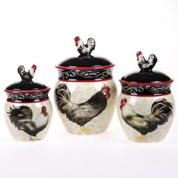 Keep flour, sugar, or snacks handy and fresh in this set of three pretty canisters. The handsome rooster motif will wake up your kitchen's décor, featuring painted roosters as well as ceramic ones atop each lid.