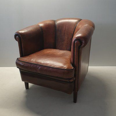 Vintage Sheep Leather Club Chair From Lounge Atelier 1980s In