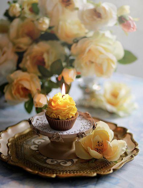 Romantic Yellow Birthday Candle