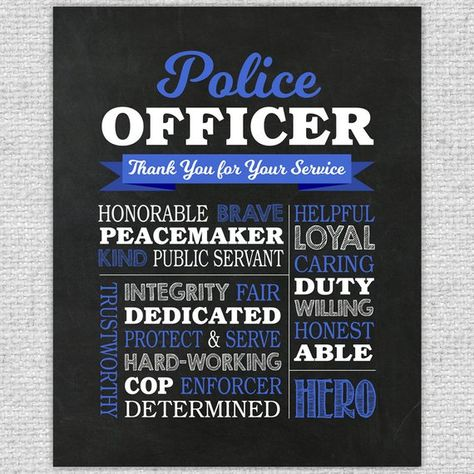 Police Officer Gift - Printable Police Officer Chalkboard Sign - Police Gift - Police Appreciation -