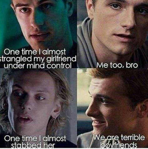 Oh Tobais, Peeta and Jace.don't worry guys, you're great boyfriends Divergent, Hunger Games, Shadowhunters crossover meme. The Mortal Instruments/The Infernal Devices Fandom Hunger Games Memes, The Hunger Games, Divergent Hunger Games, Hunger Games Fandom, Divergent Series, Hunger Games Trilogy, Divergent Quotes, Divergent Funny, Divergent Fandom