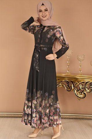 Modamerve Dijital Baski Desen Cicekli Elbise Siyah Eig 4502 Cicekli Elbise Elbise Islami Moda