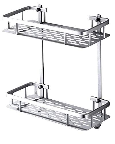 2 Tier Wall Mount Bathroom Shelf Aluminum Bathroom Shelf With Hooks Bathroom Wall She Shower Shelves Bathroom Shower Organization Bathroom Shelves For Towels