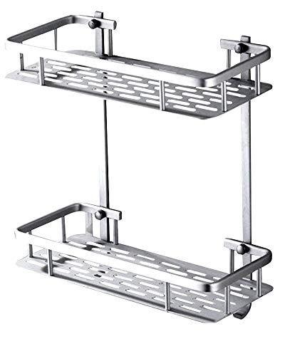 2 Tier Wall Mount Bathroom Shelf Aluminum Bathroom Shelf With