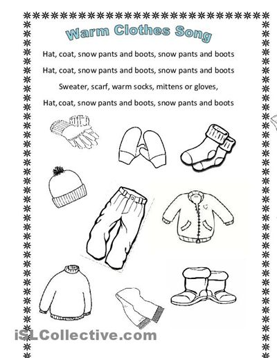 Winter Clothes Song En Hommage To Arianey S Version Clothes Worksheet Winter Kindergarten Worksheets Printable Worksheets