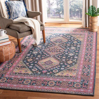 World Menagerie Campbelltown Pink Yellow Black Area Rug Rugs