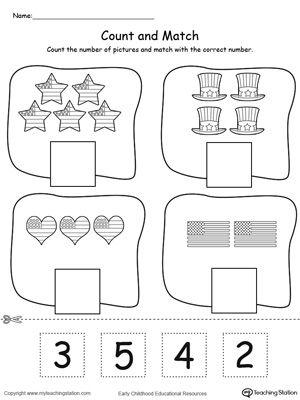 4th Of July Count And Match Printable Preschool Worksheets Kindergarten Worksheets Printable Free Preschool Worksheets Preschool worksheets free download