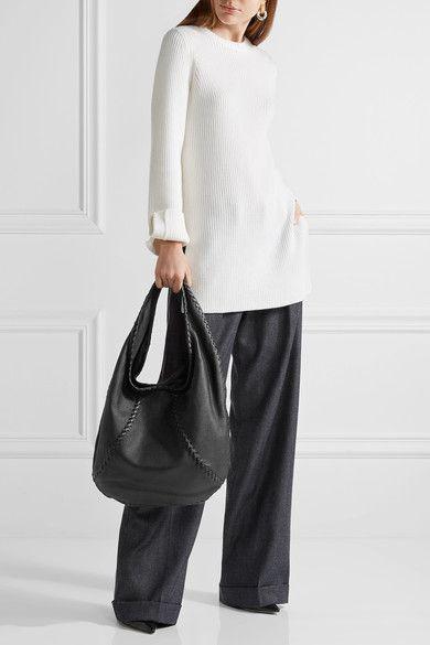 BOTTEGA VENETA Hobo black large textured-leather shoulder bag