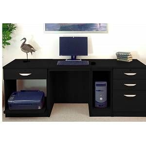 Small Office Desk Set With 1 3 Drawers Printer Shelf Cpu Unit Black Havana Free Standard Delivery Black In 2020 Office Desk Set Small Office Desk Printer Shelf