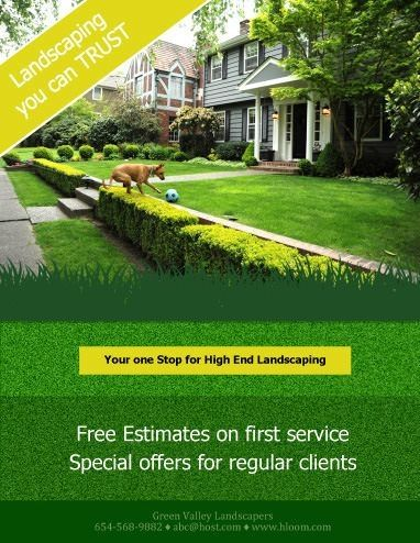Minimum Text Landscaping Flyer Template Free Landscape Free Landscape Design Lawn Care Flyers Lawn Care