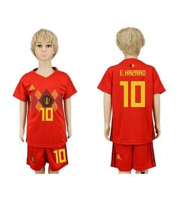 Belgien Eden Hazard 10 Hemmatroja Barn Vm 2018 Kortarmad Kids Soccer Football Jerseys Jersey Uniform